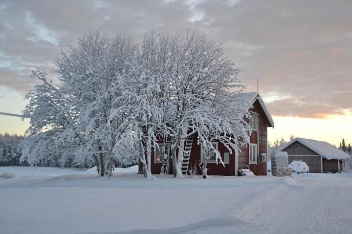 laponie maison paysage d'hiver