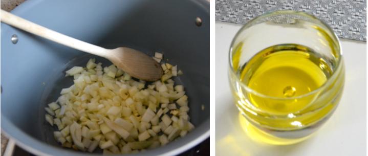 oignons et huile