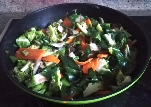 Les oignons de printemps dans le wok