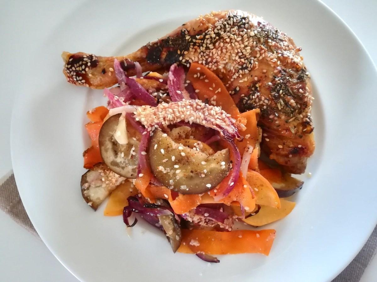 Cuisses de poulet au four et ses légumes