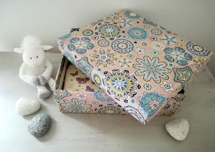 Une boîte en carton devenue une jolie boîte en tissu