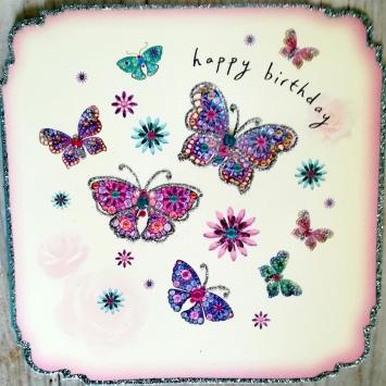 Carte anniversaire - Papillons