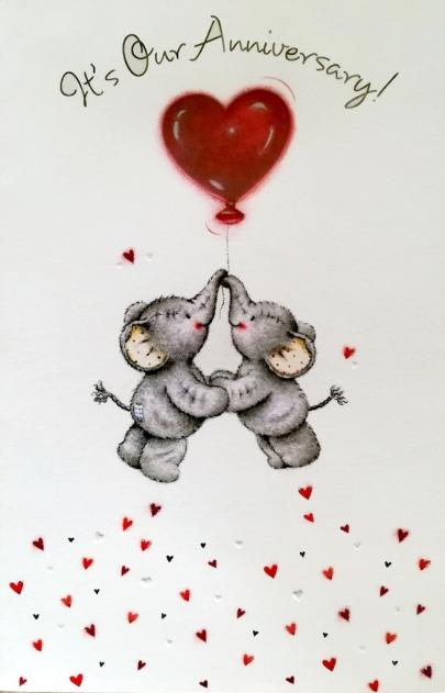 Carte célébration - Eléphants et coeur rouge