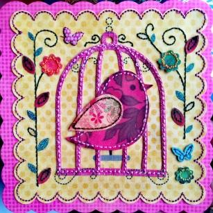 Carte célébration - Oiseau dans sa cage