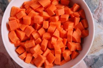 Les carottes coupées en dès