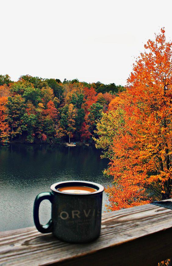paysage d'automne chocolat chaud
