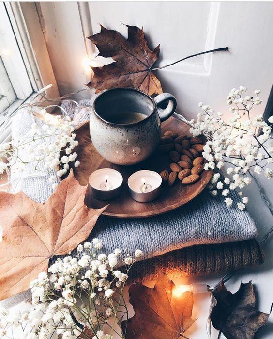 thé cosy automne bougie