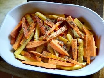 Légumes crus à mettre au four