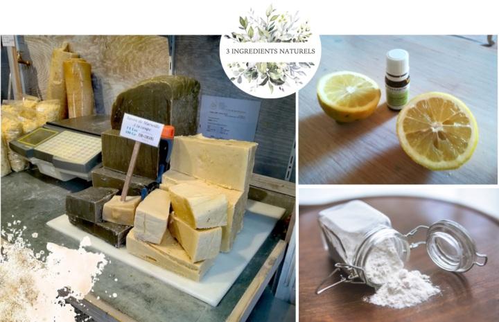 trois ingrédients naturels savon citron bicarbonate