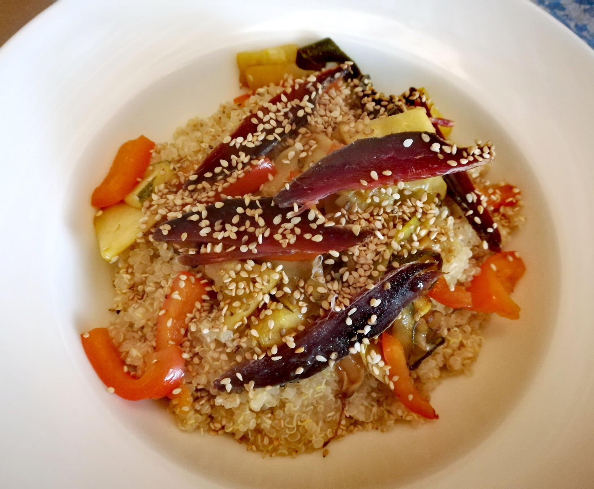 Salade quinoa, légumes et magret de canard