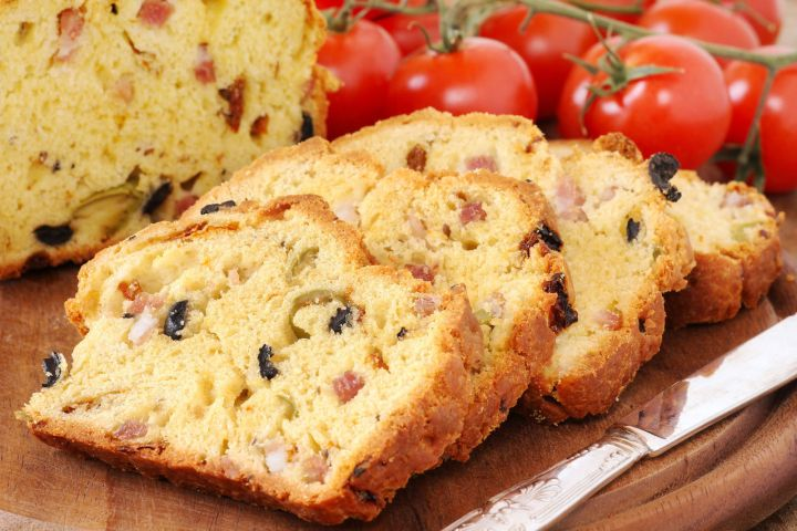 27790047 - delicious homemade freshly baked olive and bacon loaf
