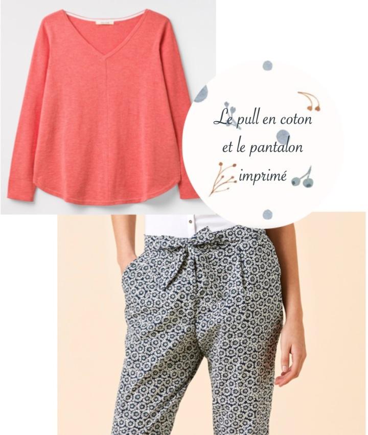 Le pull en coton et le pantalon imprimé