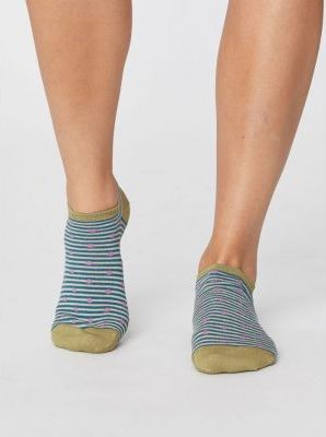 Socquettes bleues à pois et rayures