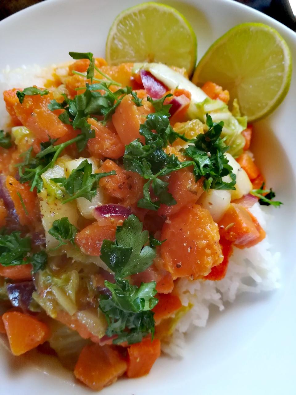 Riz thaï aux patates douces et au curry